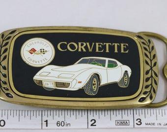 Vintage AMINCO 1981 White Chevrolet Corvette Stingray Brass Belt Buckle