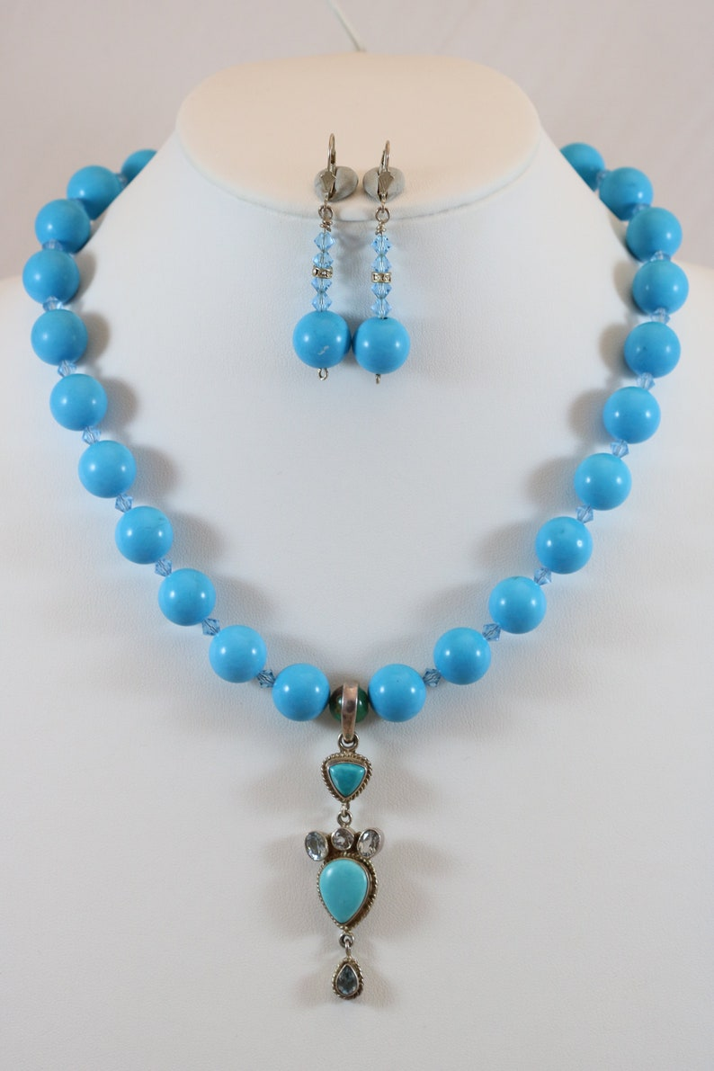Silver Tone Chunky 14mm Turquoise Bead Blue Topaz Pendant 15 Screw Ball Clasp Necklace Dangle Lever Back Earrings