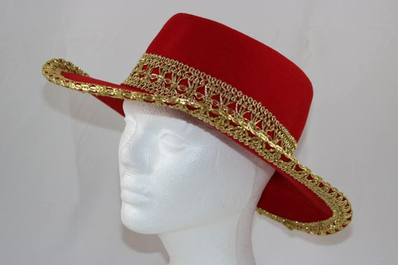 c41d7c6af1a Vintage Red Gold Wool Felt Western Cowgirl Hat Size Small 21.5