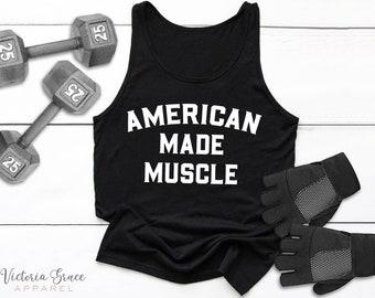 7486abbd Men's Weight Lifting Shirt American Made Muscle Shirt Men's Gym Tank Men's  Workout Shirt Men's Lifting Shirt Men's Cutoff Gym Shirt Workout