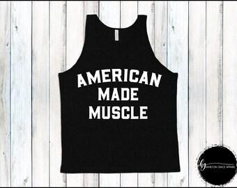 Men's Weight Lifting Shirt American Made Muscle Shirt Men's Gym Tank Men's Workout Shirt Men's Lifting Shirt Men's Cutoff Gym Shirt Workout