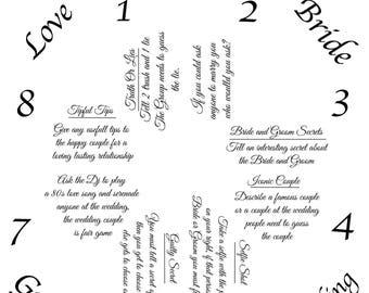 Cootie Catcher Bridal Game