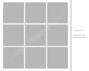 In the BOX Photography TEMPLATE - 9 box collage formatted for a 16x20