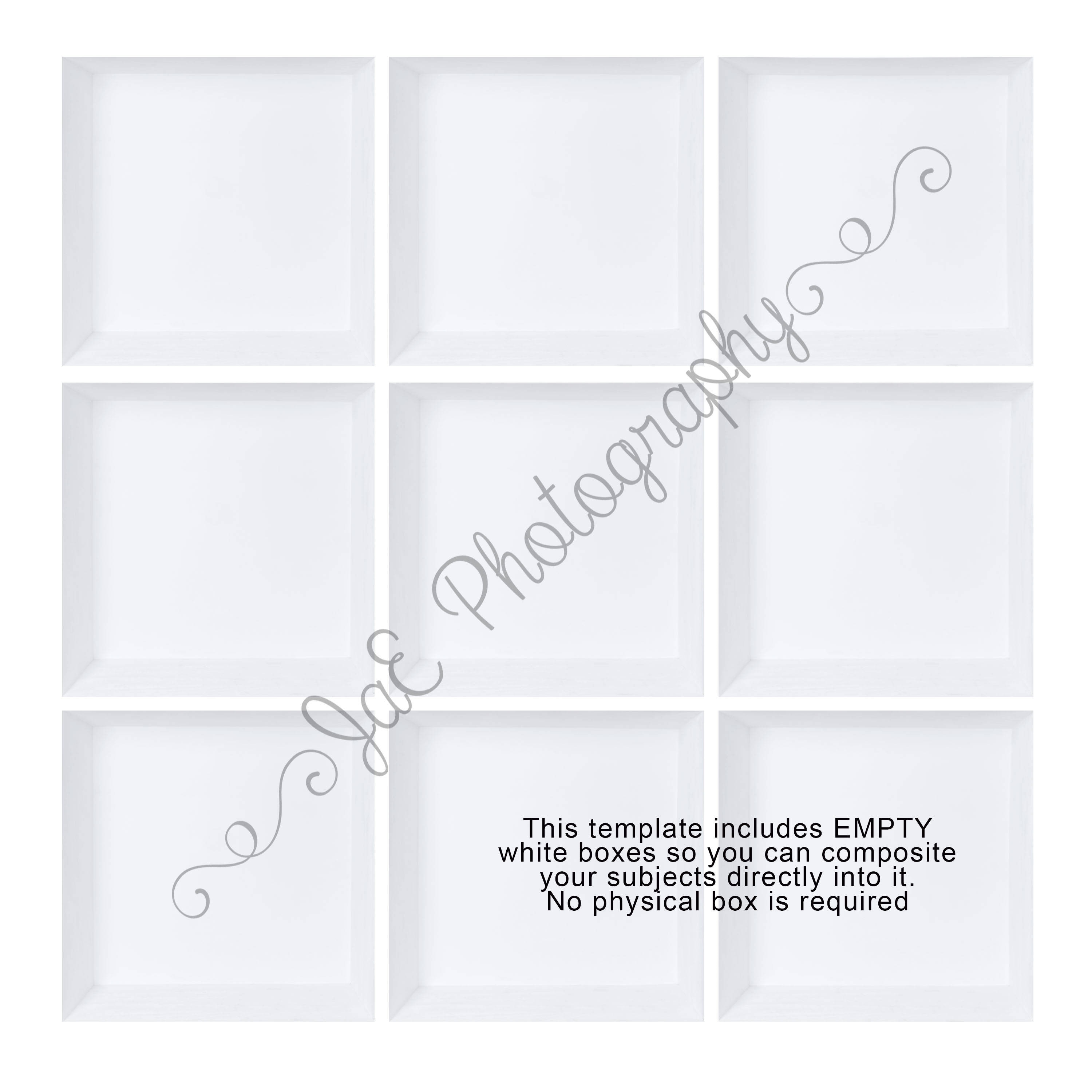 9 Box for your collage photoshop template In the box Photography TEMPLATE inside the box