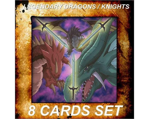 Yugioh Orica Anime Dragons/chevaliers légendaires Timaeus, Hermos, Critias Set de 8 cartes