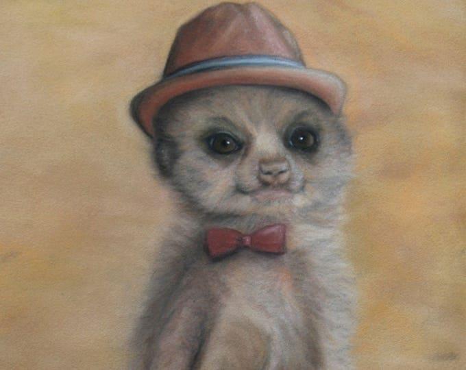 Hipster Meerkat - Giclee Art Print / Animal Art / Funny Animal / Funny Animal Print / Animal wearing clothes/ Print