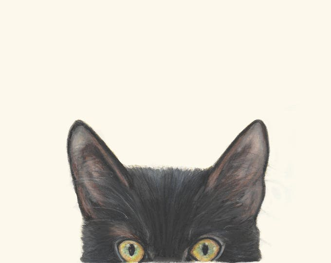 Peeking Cat - Peekaboo Kitty Cat Pussy Cat - Cat Art Drawing Fine Art Prints. Cat art print. Black cat print. Cat art. Cat face art.