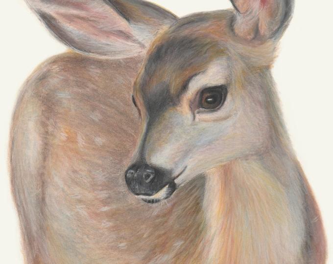 Woodland Deer. Deer art, Deer nursery wall decor. Exceptionally printed art gift for baby shower, baby's room, nursery, Christening gift.