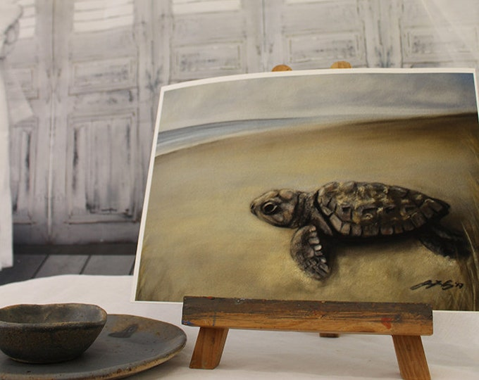 Turtle Hatchling Art Print - Baby sea turtle art! Turtle gift, turtle decor, turtle wall art. Wildlife art, animal art. Sea turtle gift.