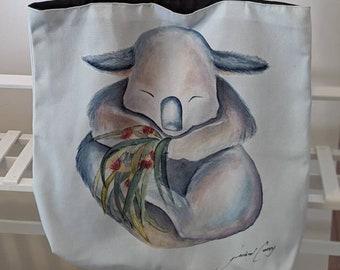 Tote bag, Australian Koala. Cute, cuddly koala wants to be carried by you!  Machine Washable, Australian Made. Great Australian gift!