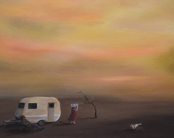 The Dusty Caravanners. Caravan artwork print. Couple, caravan and dog on holidays across Australian Outback. Gift for dad, housewarming gift