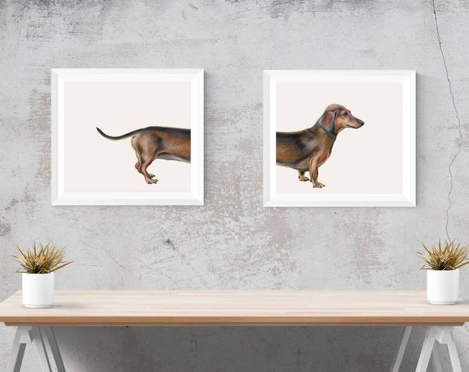 Dachshund print pair. Dachshund print.  Sausage dog Dachshund animal print. Top and bottom dog art. Dog lover, dachshund gift.
