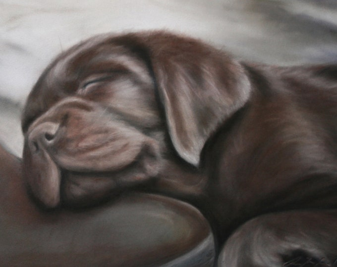 His Master's Boots - Labrador retreiver art print. Chocolate Labrador artwork. Dog art, dog lover, dog gift, gift for him, pet gift art