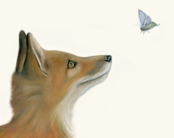 Fox and butterfly. Great fox art print - Christmas gift, hangs great in baby's nursery or children's room also. Sweet and happy woodland art