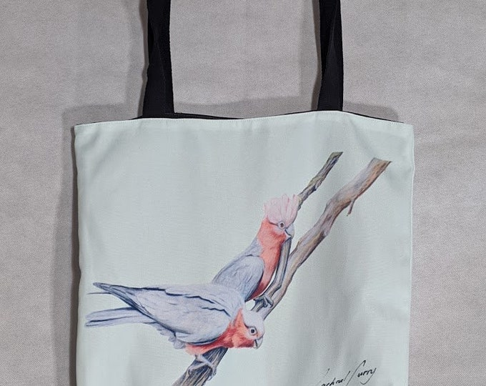 Galah Green Tote Bag. Machine Washable, Australian Made. Bird Art Bag. Tote Bag. Great Australian gift! Galah bird. Galah gift. Galah art