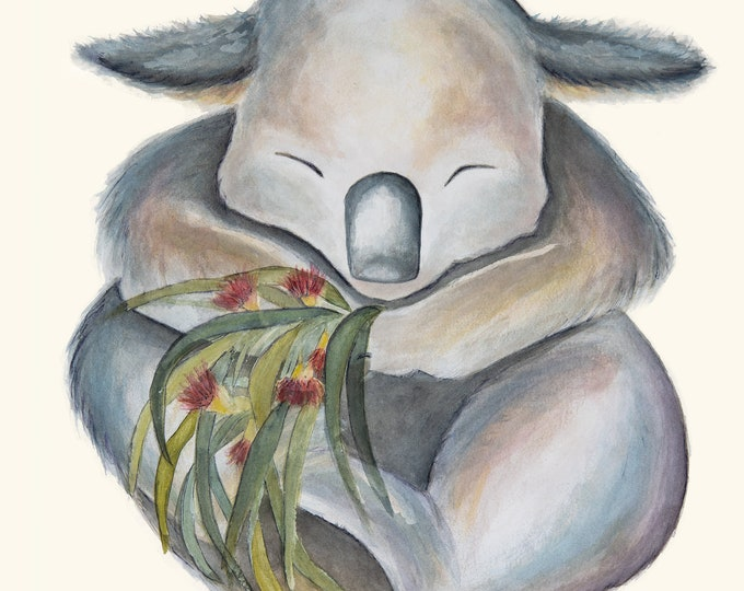Cute Koala Watercolour Print, great for baby nursery, childrens room, Christmas gift.