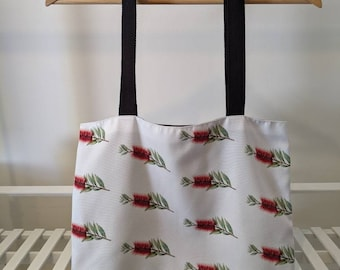 Tote bag, Australian Bottle Brush Red Flower, Botanic Art. Machine Washable, Australian Made. Great Australian gift!