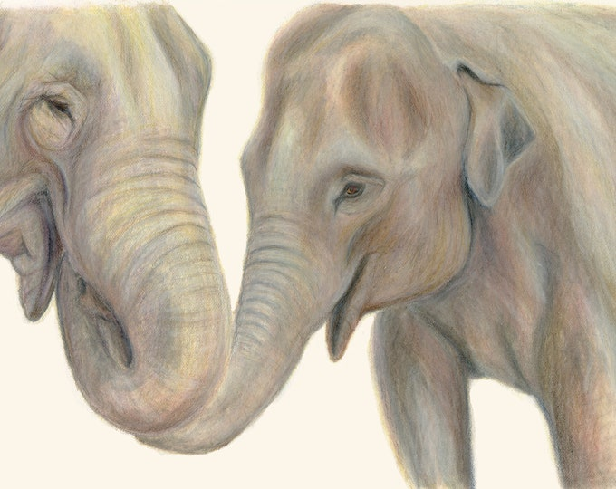 Elephants Wall Art - beautiful gift for Elephant lovers. Elephant art print. Brown. Holding trunks. Elephant print. Gift. Animal art print.