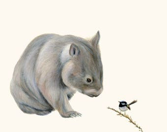Wombat and Blue Fairy Wren 2 - Wombat art, wombat print. Great Australian animal gift. Wall art for nursery, home decor print for home.