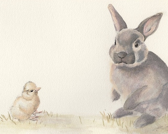 Easter Bunny rabbit print! Exceptionally printed on German etching paper. Cute rabbit watercolour art. Great wall art Easter gift.