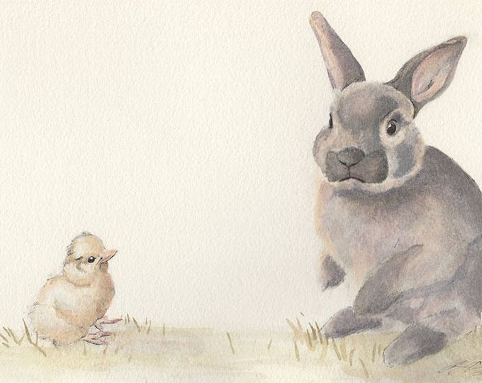 Rabbit and Chick - Cute Bunny print from watercolour painting. Lovely bunny art for Nursery. Great baby shower present for boy or girl.