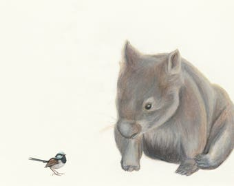 Wombat and Blue Wren fine art print. Fantastic quality print, great for the nursery or children's room. This wombat will bring lots of love!