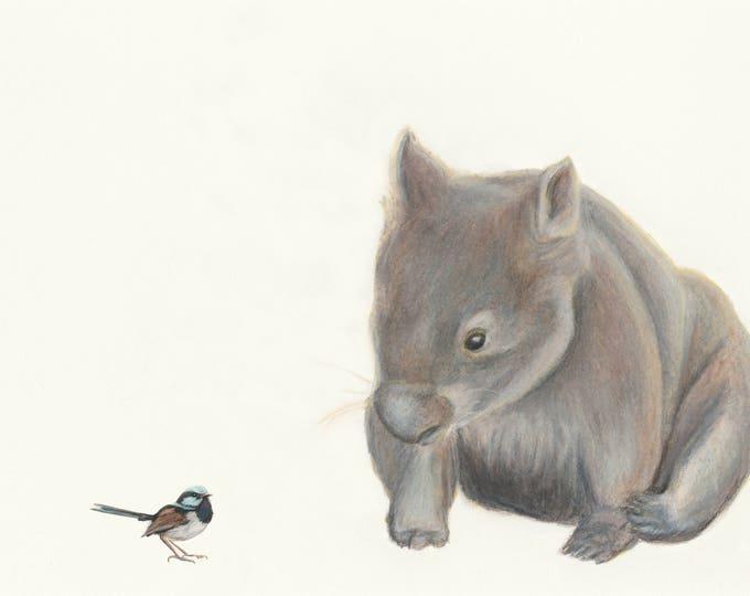 Wombat and Blue Wren - Australian wombat print. Great Australian animal Gift. Wombat art, wombat print, wombat Australian animal print