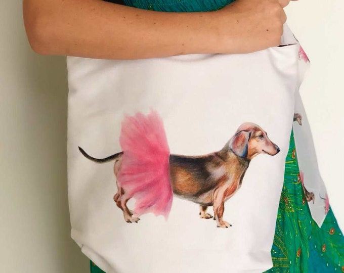 Dachshund Tutu Tote! Beautiful tote bag printed with Nancy the Daxy Dachshund Dog wearing her pink tutu on both sides. FABULOUS !