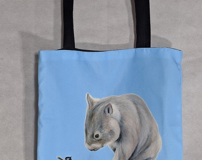 Wombat Blue Tote Bag. Machine Washable, Australian Made. Wombat Art Bag. Tote Bag. Great Australian gift! Wombat animal art Wombat gift