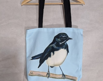 Willie Wagtail Blue Tote Bag. Machine Washable, Australian Made. Bird Art Bag. Tote Bag. Great Australian gift!