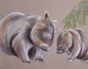 Wombat family. Fine art print. Beautiful, sweet gift of Australian animal art by Rachael Curry. Nursery, kids room