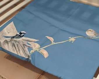 Australian Blue Wren Art Cushion Cover. Beautiful blue wrens on a soft cushion with a blue background. Great gift for mum!