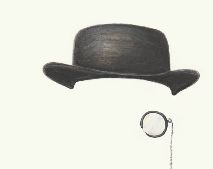 Monocle and Hat - unique wall art. Gift for him, office, funny art, hipster, bowler hat, cool art, artwork. Gift for dad. Teenager gift.