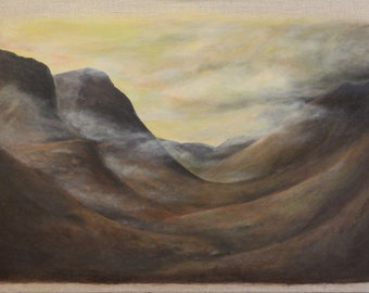 Glencoe, Scotland. Painting print. Misty mountains  Scotland artwork. Scotland gift, Scotland art. Gift for him, gift for Dad. Mountain art