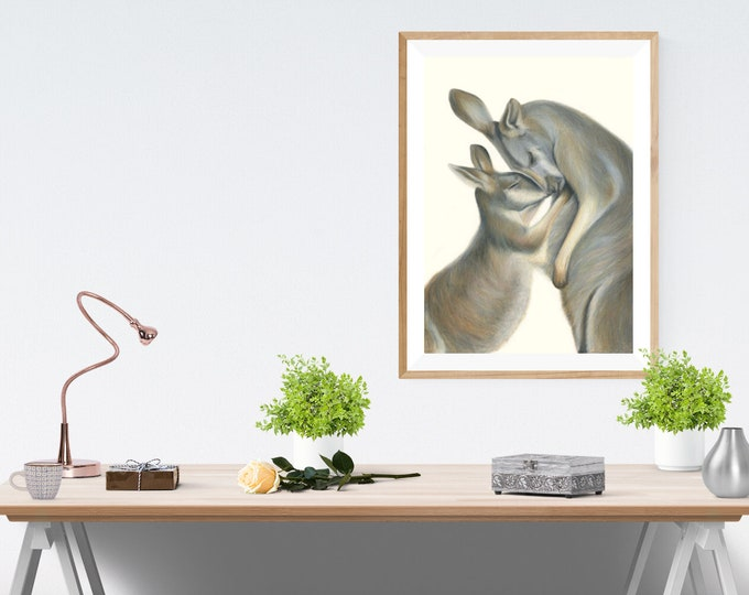 Kangaroo Animal Wall Art - perfect gift, gift for mum, home decor.  Australian animal Kangaroo art print. Great gift for friends oversea.