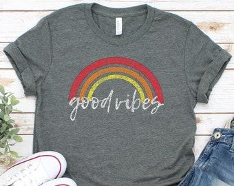 380c068be6e8c6 Good Vibes Shirt    Good Vibes Only    Graphic Tees    Distressed Shirt     Summer Shirt    Women s Shirt    Rainbow Shirt    Good Vibes