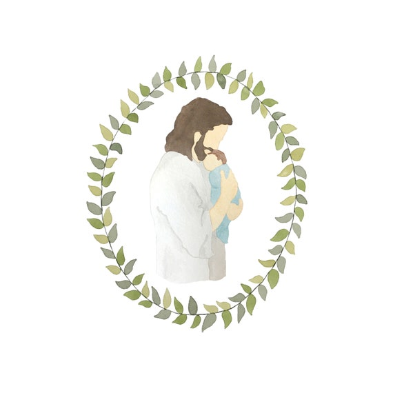 Jesus Christ Holding Baby Boy Miscarriage Grief Watercolor Print