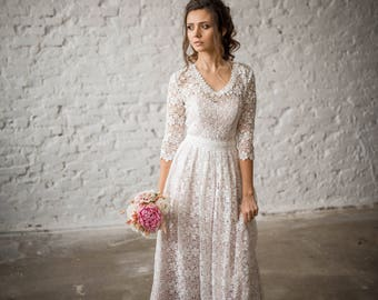 Wedding Dress, Boho Wedding Dress, Vintage Wedding Dress