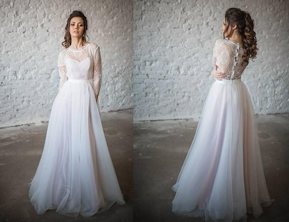 Boho Hochzeit Kleid Vintage Hochzeit Brautkleid 3 In 1 Etsy