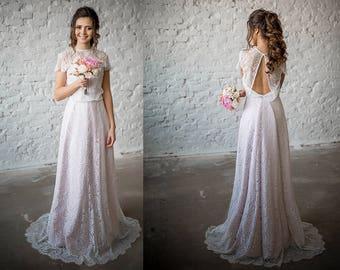 Wedding Dress / Boho Wedding Dress/  Vintage Wedding Dress