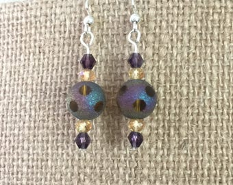 Purple and amber glass bead earrings