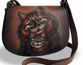 Hand painted leather bag . small womens bwith the image of cats, leather women 39 s bag, crossbody bag, shoulder bag,