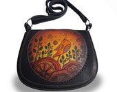 Hand painted leather bag with bird and flowers. small womens bag, leather women 39 s bag, crossbody bag, shoulder bag,