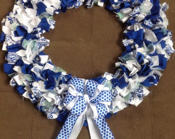 Blue and white fabric wreath