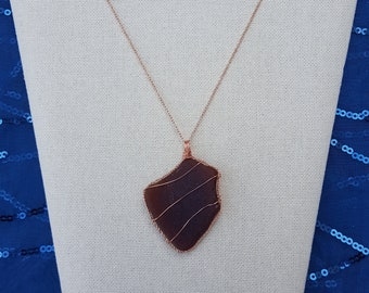 Wire-Wrapped Sea Glass Pendant Necklace with Rose Gold Color Chain