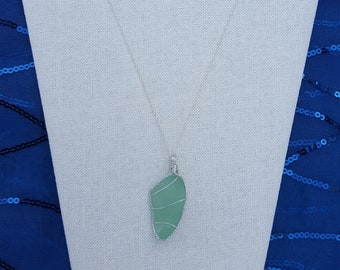 Wire-Wrapped Sea Glass Pendant Necklace with Sterling Silver Chain