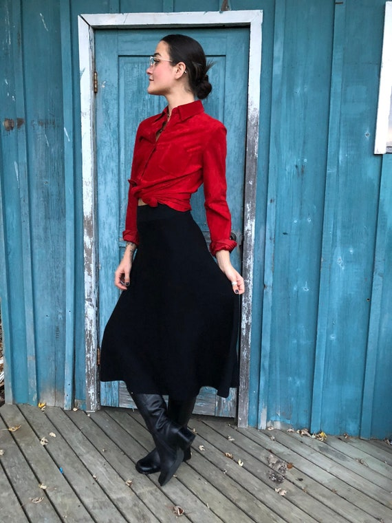 Leather Top  Suede Shirt  90s Blouse  Grunge Top