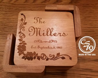Coasters, Coaster Set, Bamboo Coasters, Coaster Set Bamboo Square, Drink Coaster Set, Wedding Gift, Personalized Gifts
