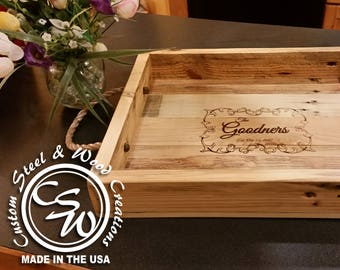 Rustic Serving Tray | Serving Tray | Personalized Wood Tray | Wood Serving Tray | Decorative Tray | Housewarming Gift | Wedding Gift