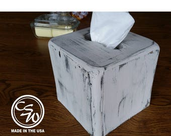 Tissue Box Cover, Square Tissue Box Holder, Wood Tissue Box Cover, Rustic Wood Tissue Box Cover, Wooden Tissue Box Cover